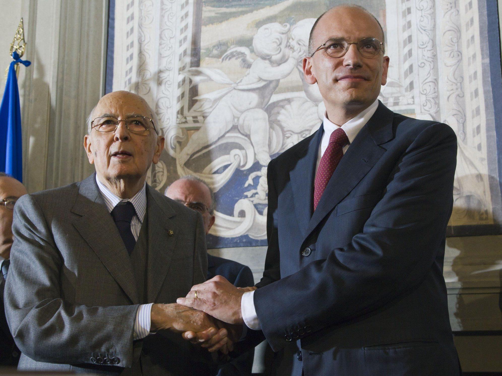Letta legte Staatspräsident Giorgio Napolitano am Samstag in Rom die Ministerliste vor.