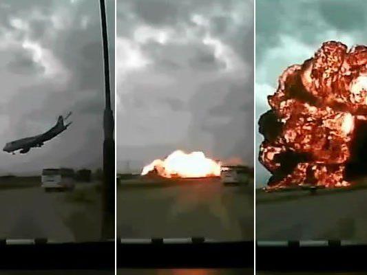 Bilder aus dem YouTube-Video vom dramatischen Absturz in Bagram.