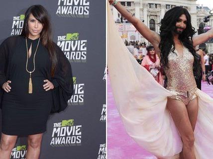 Conchita Wurst und Kim Kardashian wurden von der internationalen Presse miteinander vergleichen.