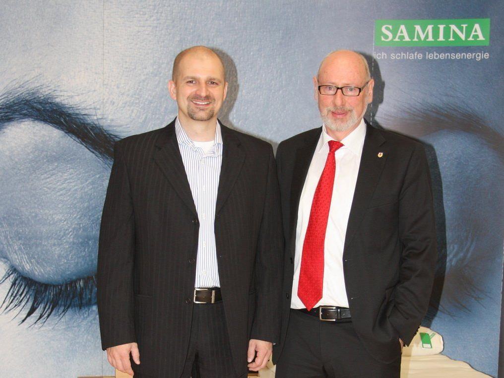 Der neue VEU Feldkirch-Trainer Milos Holan (l.) mit VEU-Ehrenpräsident Günther W. Amann.