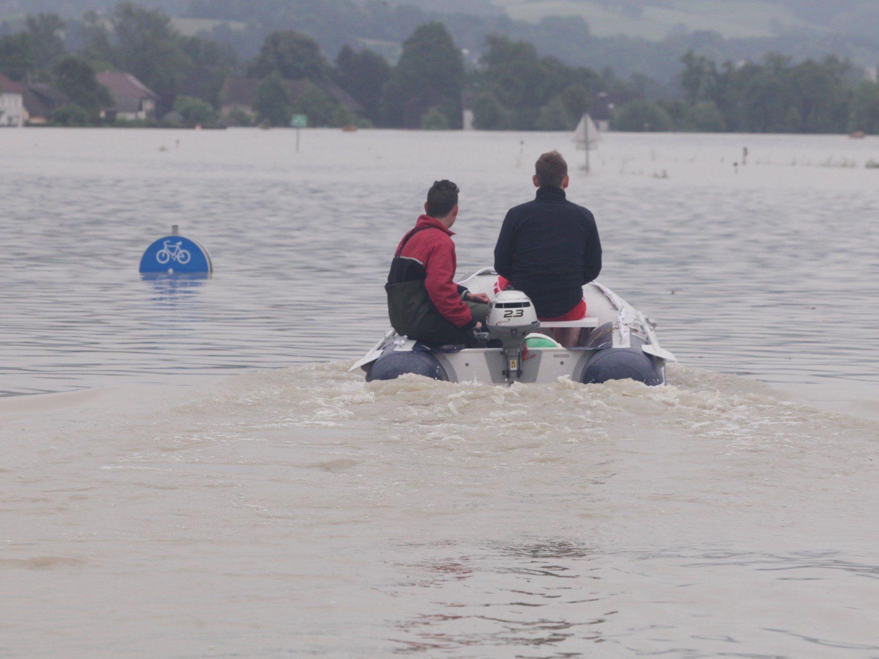 Hochwasser - Fünf Jäger mit Boot auf Donau bei Wallsee gekentert