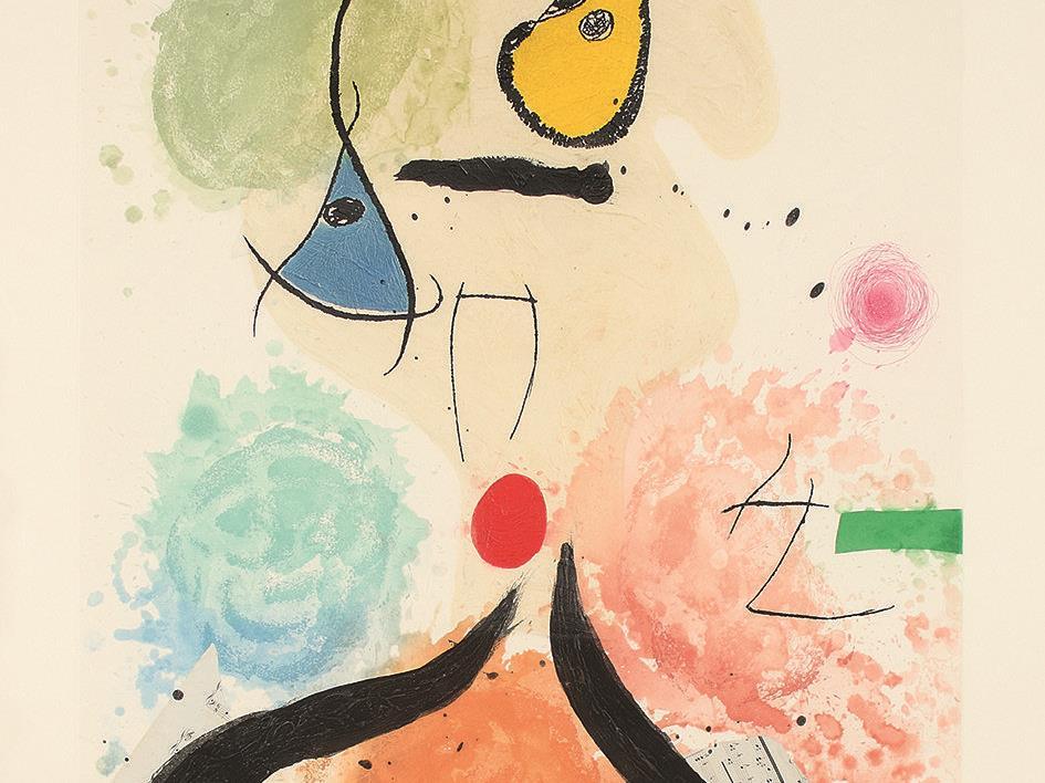 "Joan Miró, ""La cantatrice chauve"" (Die kahle sängerin), Aquatintaradierung mit Carborundum und Collage 1981/1990, Galerie Boisserée"