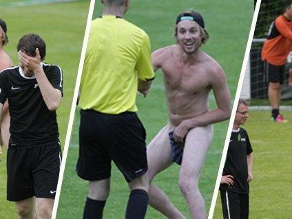Flitzer-Action beim Russmedia-Fußball-Turnier. Auch Spaß muss sein.