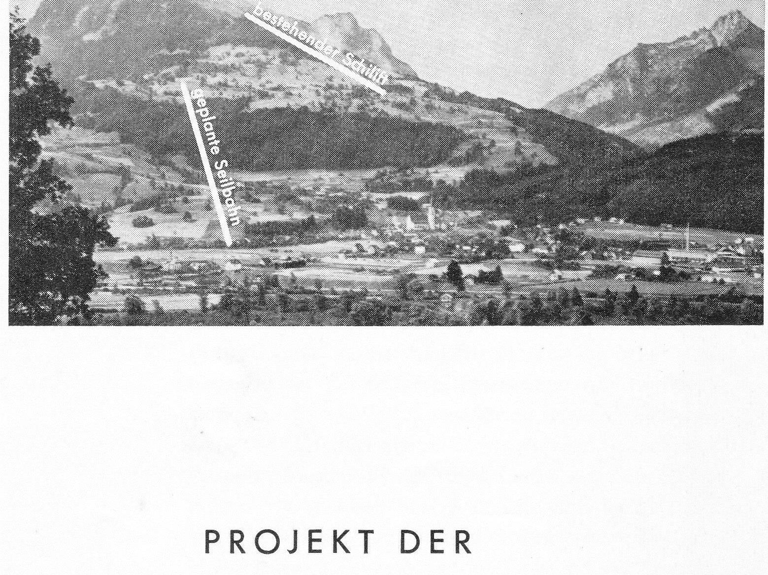 1954 wurde das Projekt Seilbahn Bazora vom Verkehrsverein Frastanz vorgestellt