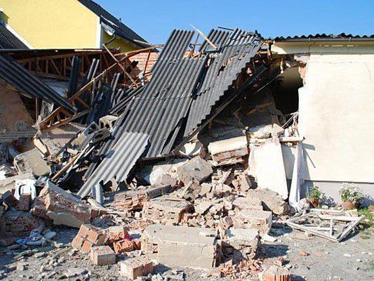 Das Haus in Eggendorf nach der Explosion