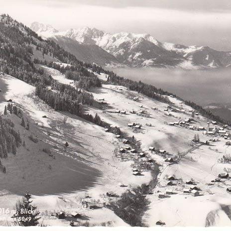 Raggal nach 1950, damals noch auf 1016 m Seehöhe, eingesendet von Alfred Zech.
