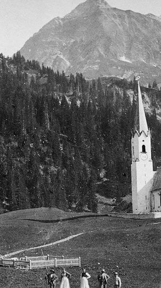 Schröcken damals mit Pfarrkirche.