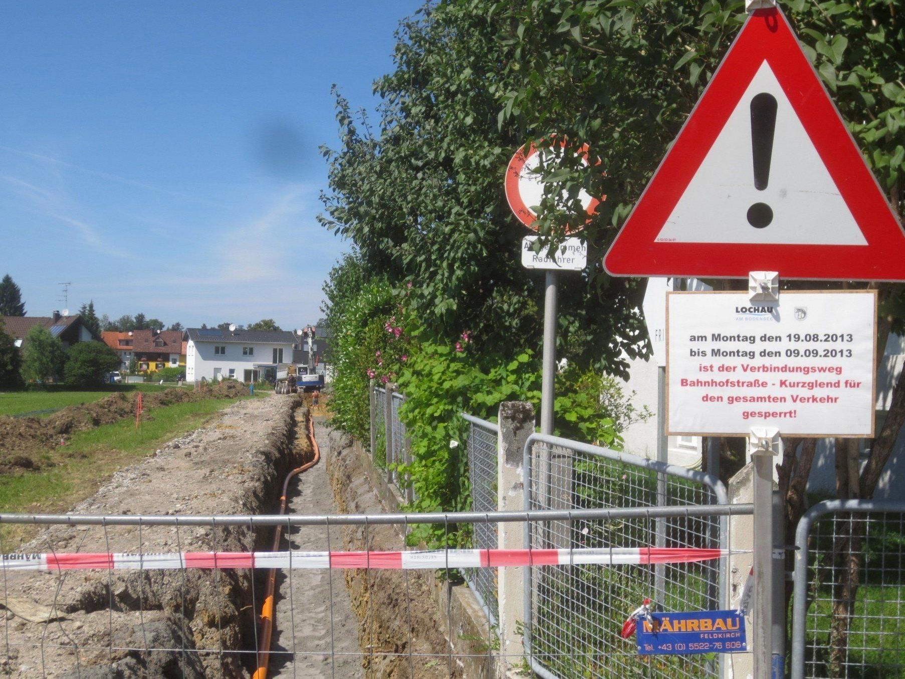 Der Kurzglend-Weg wird erneuert und bleibt daher für Fußgänger und Radfahrer gesperrt.