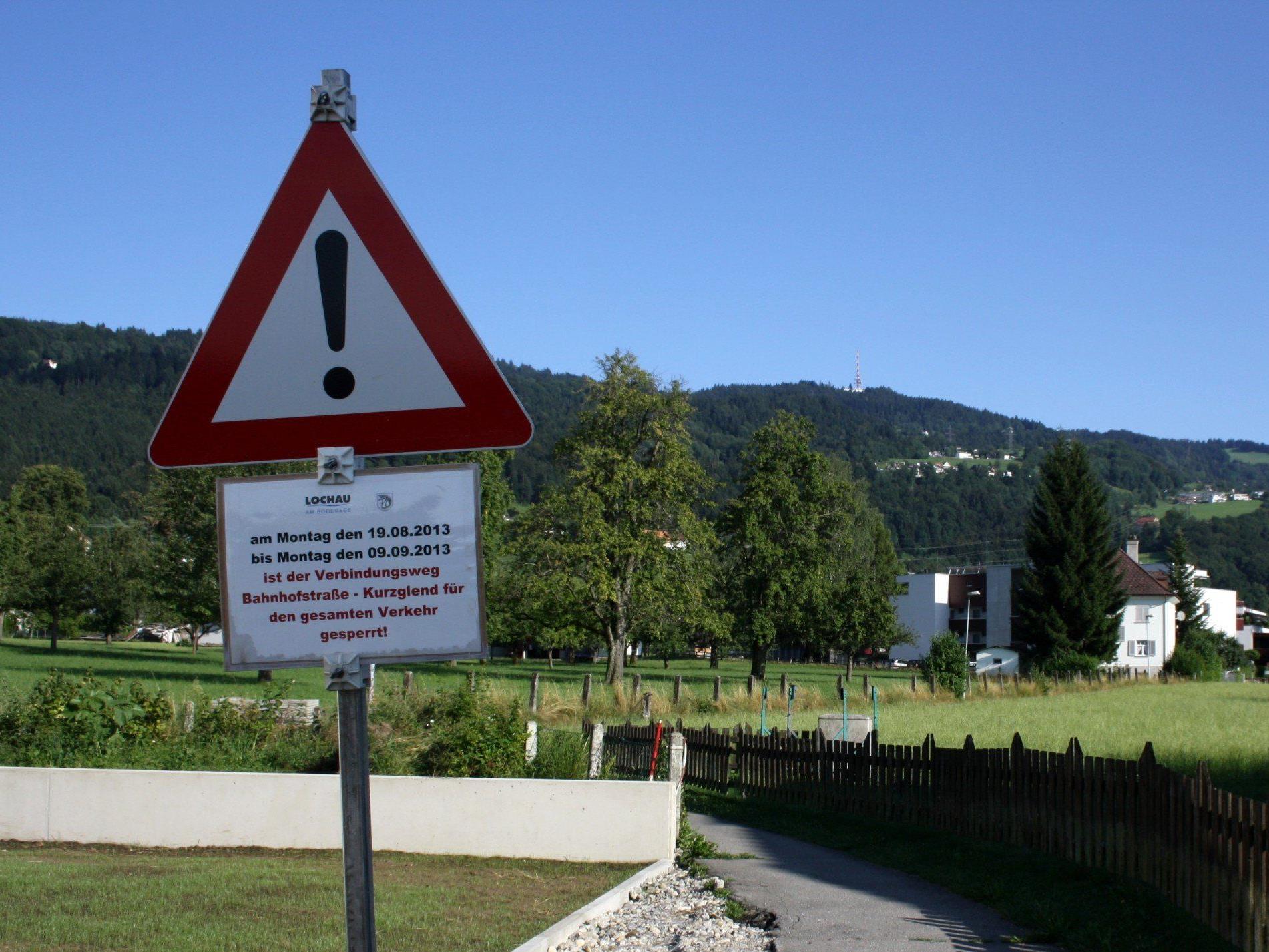 Der Kurzglend-Weg wird in den kommenden drei Wochen erneuert und bleibt daher für Fußgänger und Radfahrer gesperrt.
