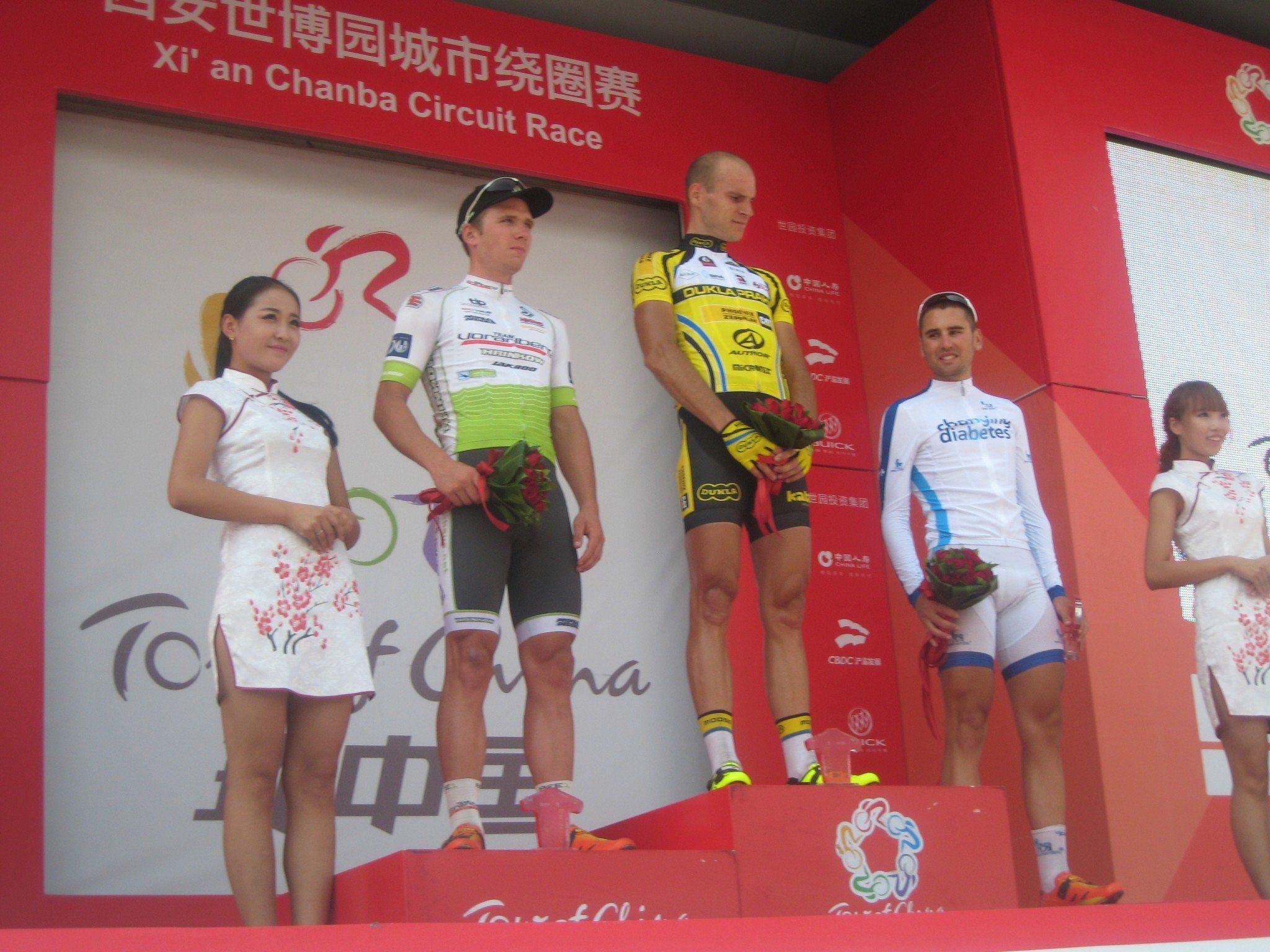 Team Vorarlberg Fahrer Daniel Biedermann sensationell Zweiter der ersten Etappe in China.