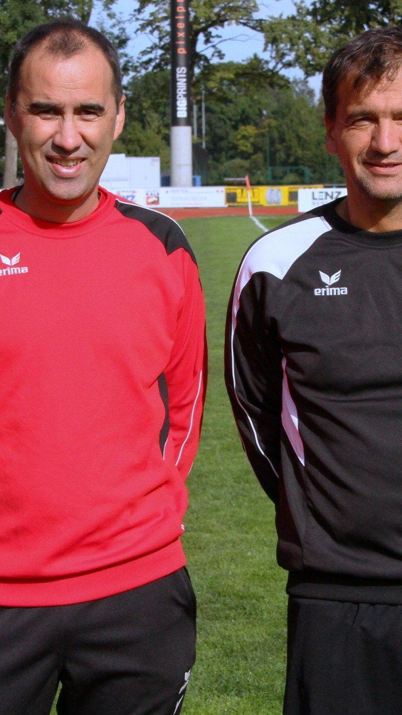 Das neue Trainerduo beim FC Dornbirn: Peter Jakubec und Cotrainer Hans Peter Pircher geben ihr Debüt.
