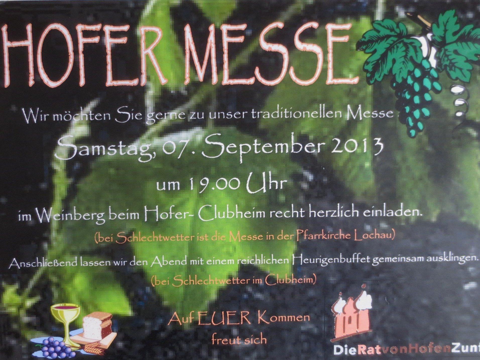 """Einladungsplakat zur traditionellen """"Hofer-Messe"""" im Weinberg."""