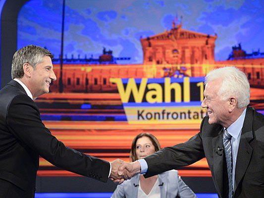 Team Stronach Spitzenkandidat Frank Stronach (r.), Moderatorin Ingrid Thurnher (m.) und VK Michael Spindelegger (ÖVP) bei der TV-Konfrontation