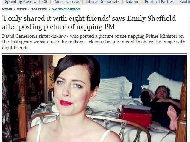 Britischer Premier in scharfem Kontrast zu posierender Braut
