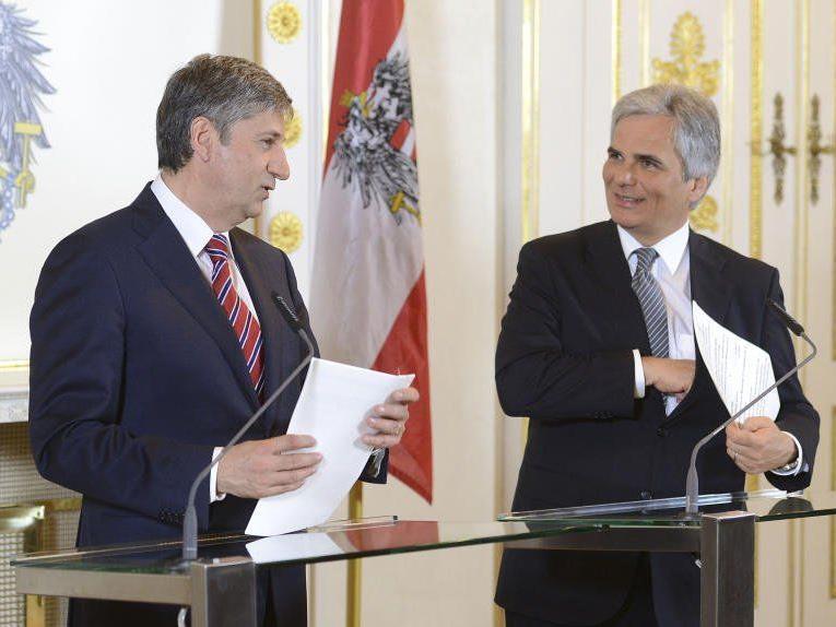 VK Michael Spindelegger und BK Werner Faymann anl. eines Ministerrates