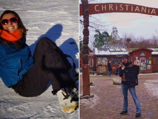Ilona Kaźmierczak lernt in Vorarlberg snowboarden. Julia Marte besucht Christiana in Kopenhagen. (v.l.)