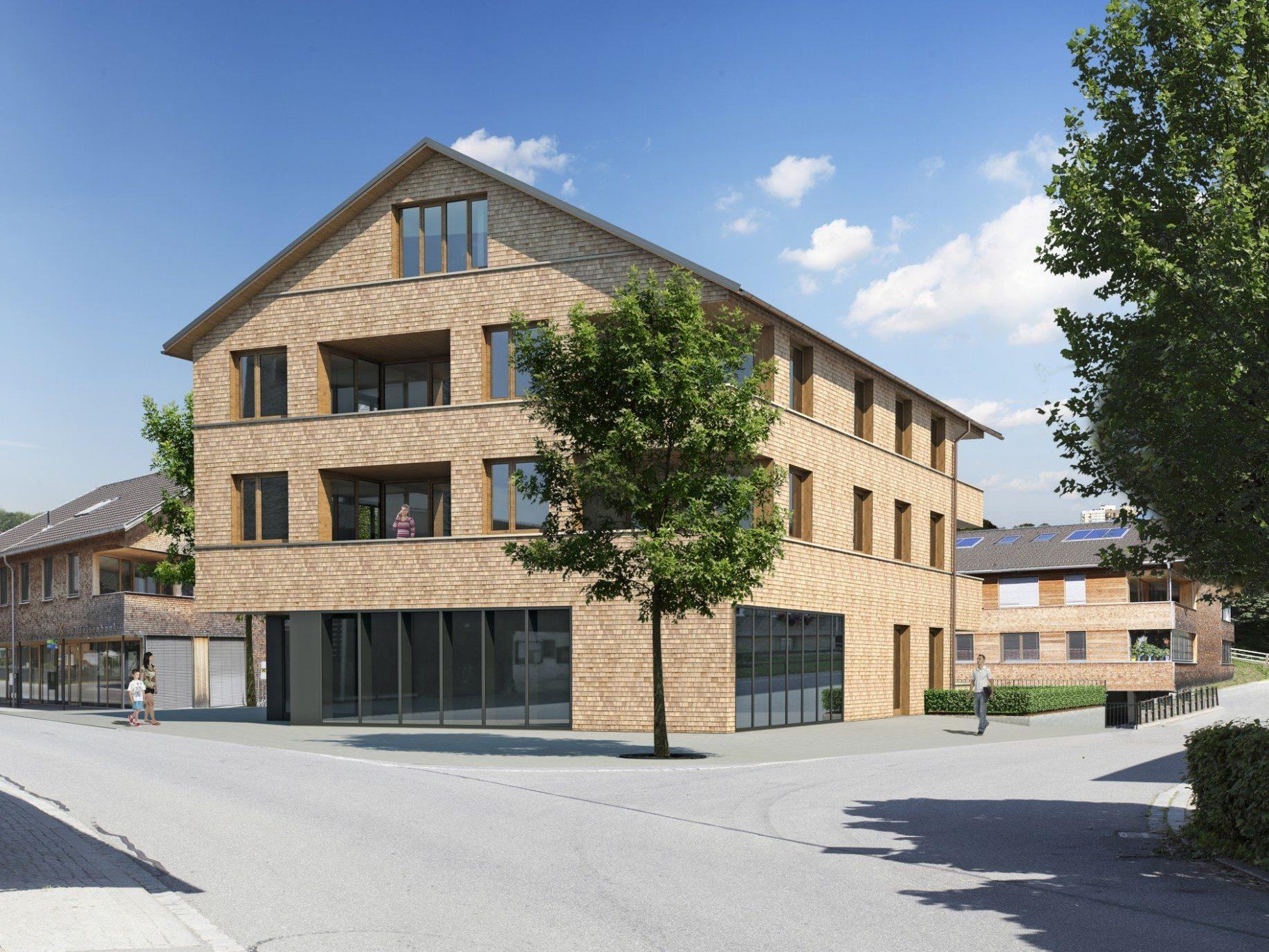 Das neue Gebäude soll die Zentrumsentwicklung in Egg-Großdorf abschließen.