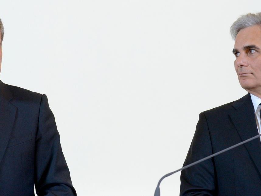 Treffen heute im letzten TV-Duell aufeinander: Spindelegger und Faymann.