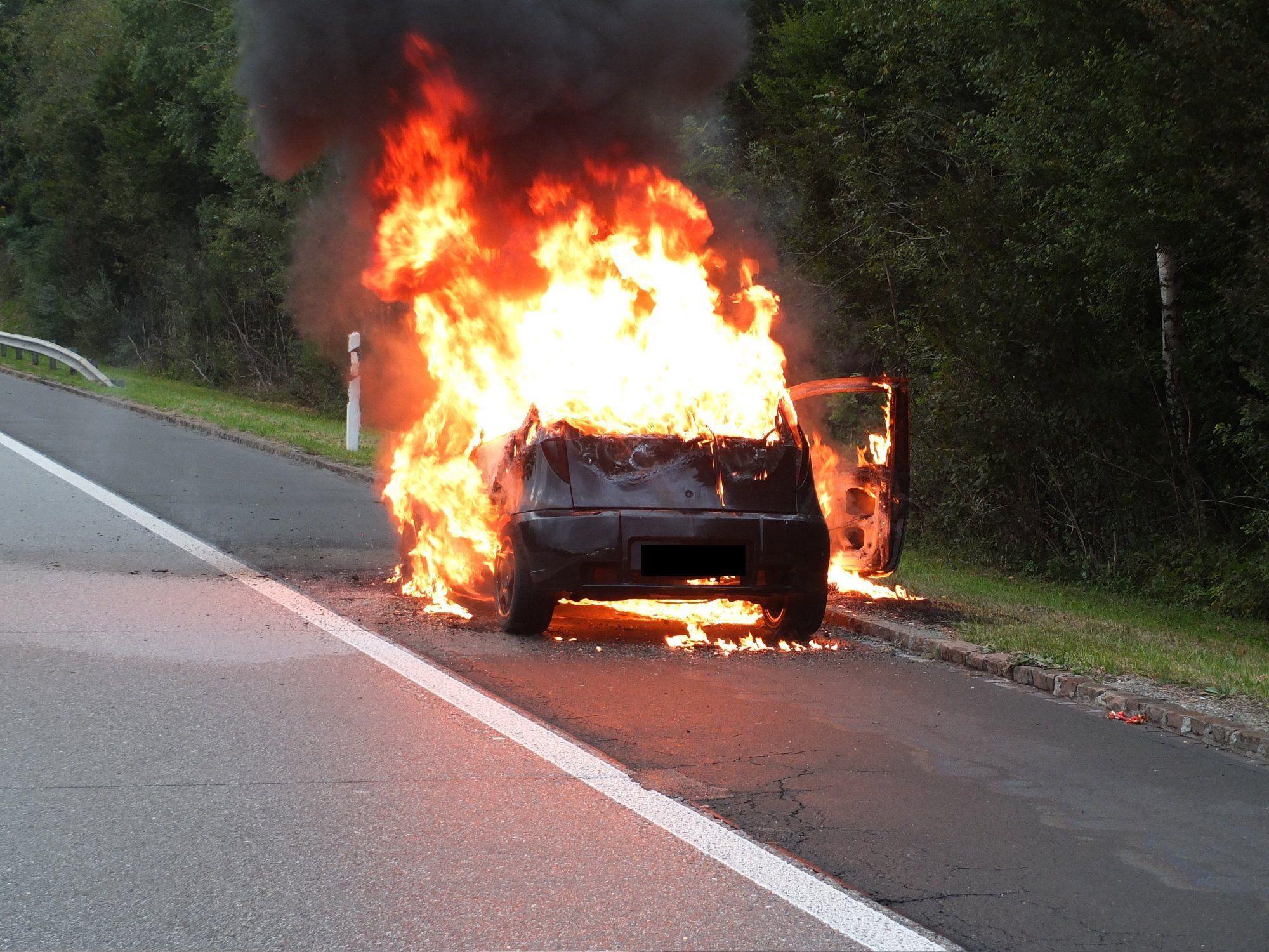 Pkw auf Schweizer A13 komplett ausgebrannt.