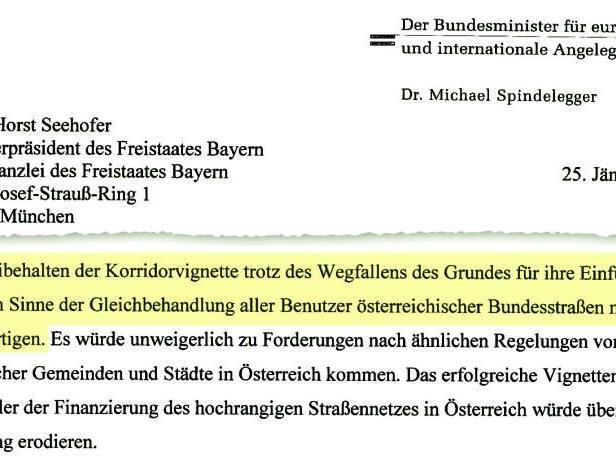 """Brief vom 25. Jänner: Spindelegger verteidigt """"Aus"""" der Korridorvignette."""