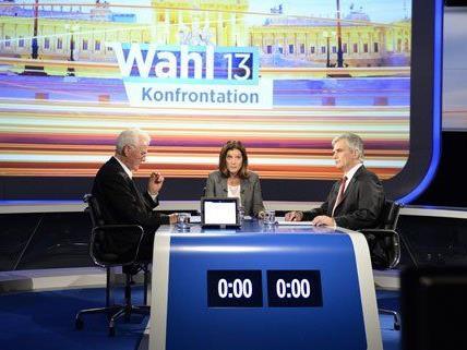 Frank Stronach und Werner Faymann beim TV-Duell am Donnerstag.
