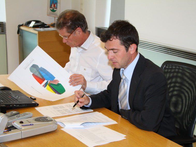 Rankweil Bürgermeister Martin Summer gibt das Endergebnis der Nationalratswahl in der Marktgemeinde bekannt.