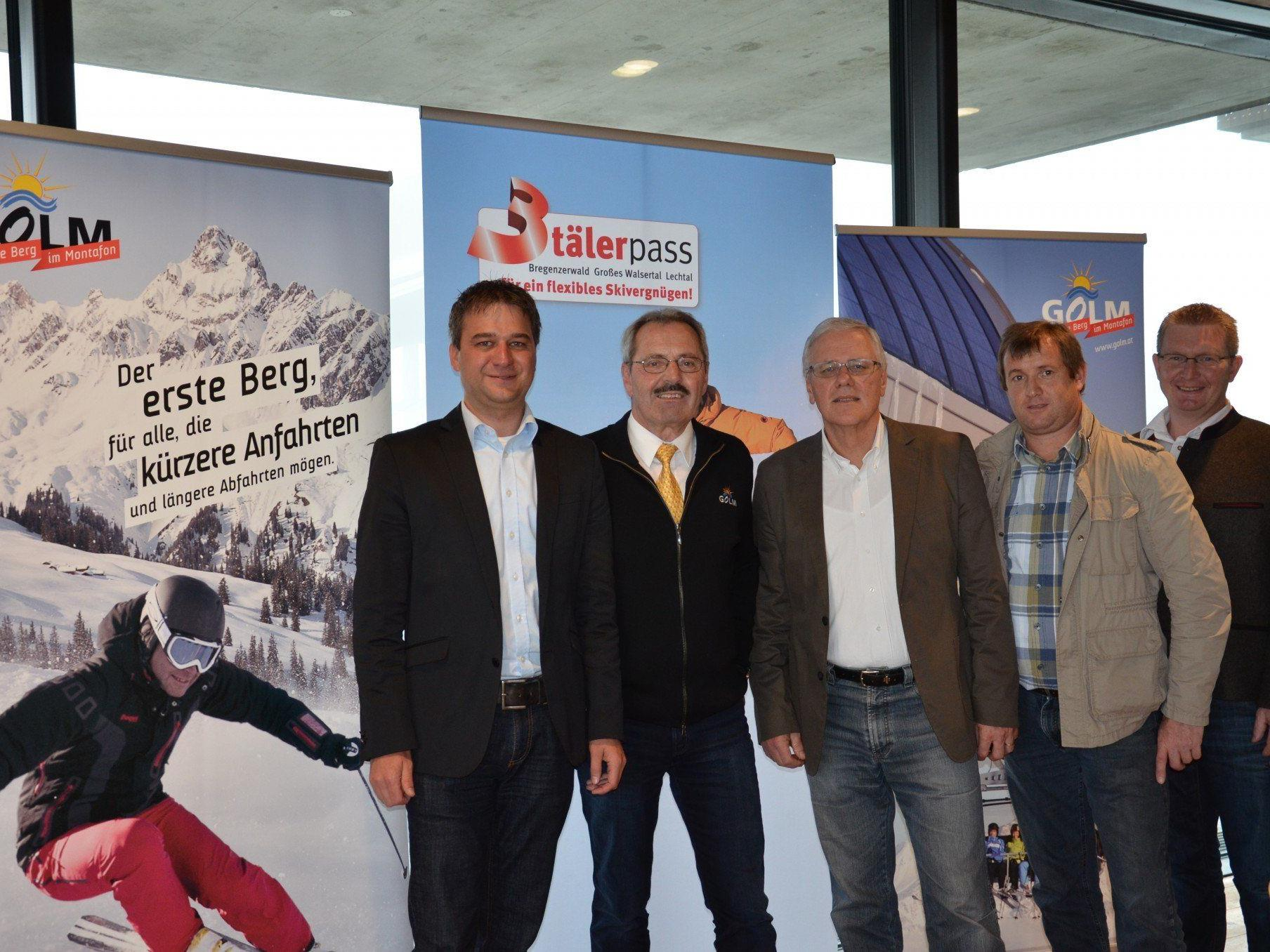 vl. Thomas Übelher (Obmann 3Täler Marketingausschuss), Werner Netzer (GF Illwerke Tourismus), Wolfgang Beck (GF 3Täler Touristik), Thomas Lerch (GF Bergbahnen Gargellen), Günter Oberhauser (Obmann 3Täler Beirat)