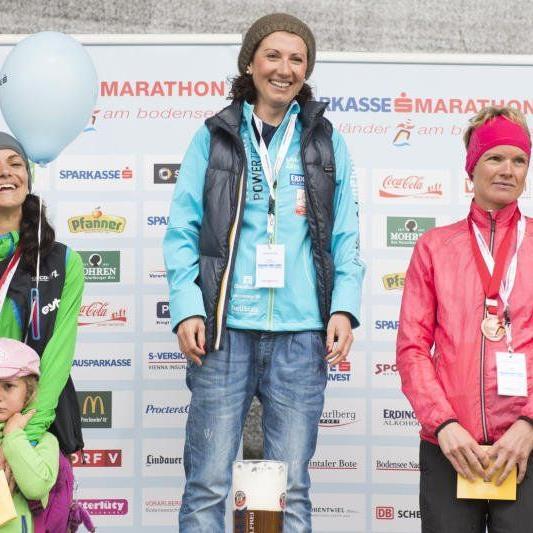 Die Dornbirnerin Sabine Reiner stand zum zweiten Mal beim Marathon am Bodensee ganz oben.