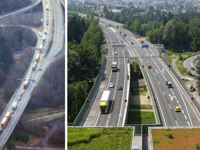 Auch am Südportal sind Situationen wie auf dem kleinen Bild links Geschichte, seit der Verkehr durch den zweiröhrigen Tunnel rollt (rechts).
