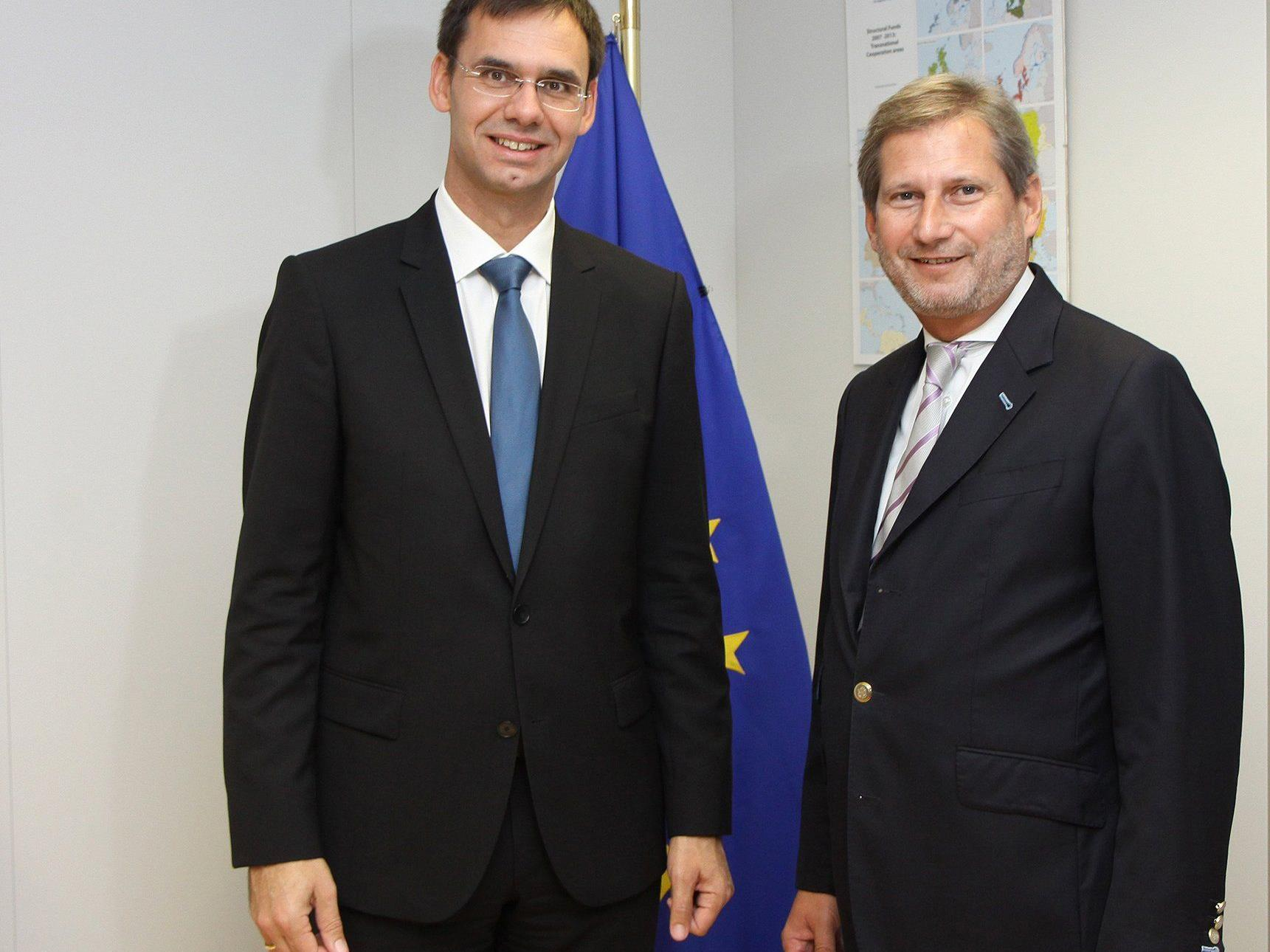 LH Markus Wallner mit EU-Regionalkommissar Johannes Hahn in Brüssel.