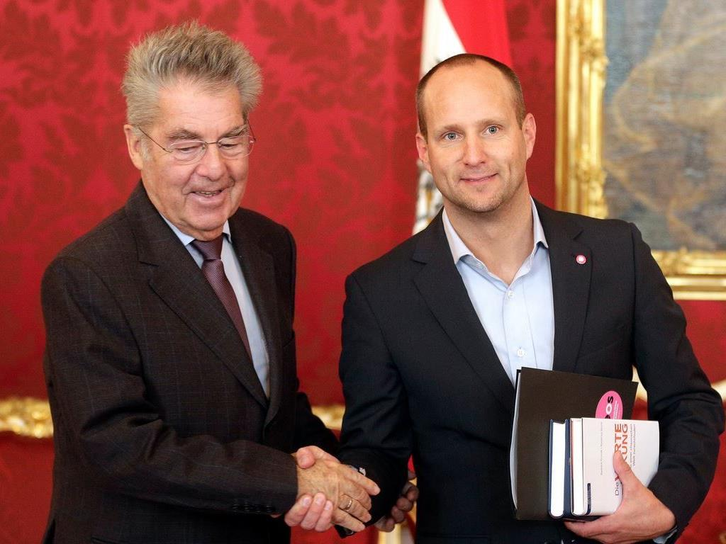 Bundespräsident Heinz Fischer mit Neos-Chef Matthias Strolz.