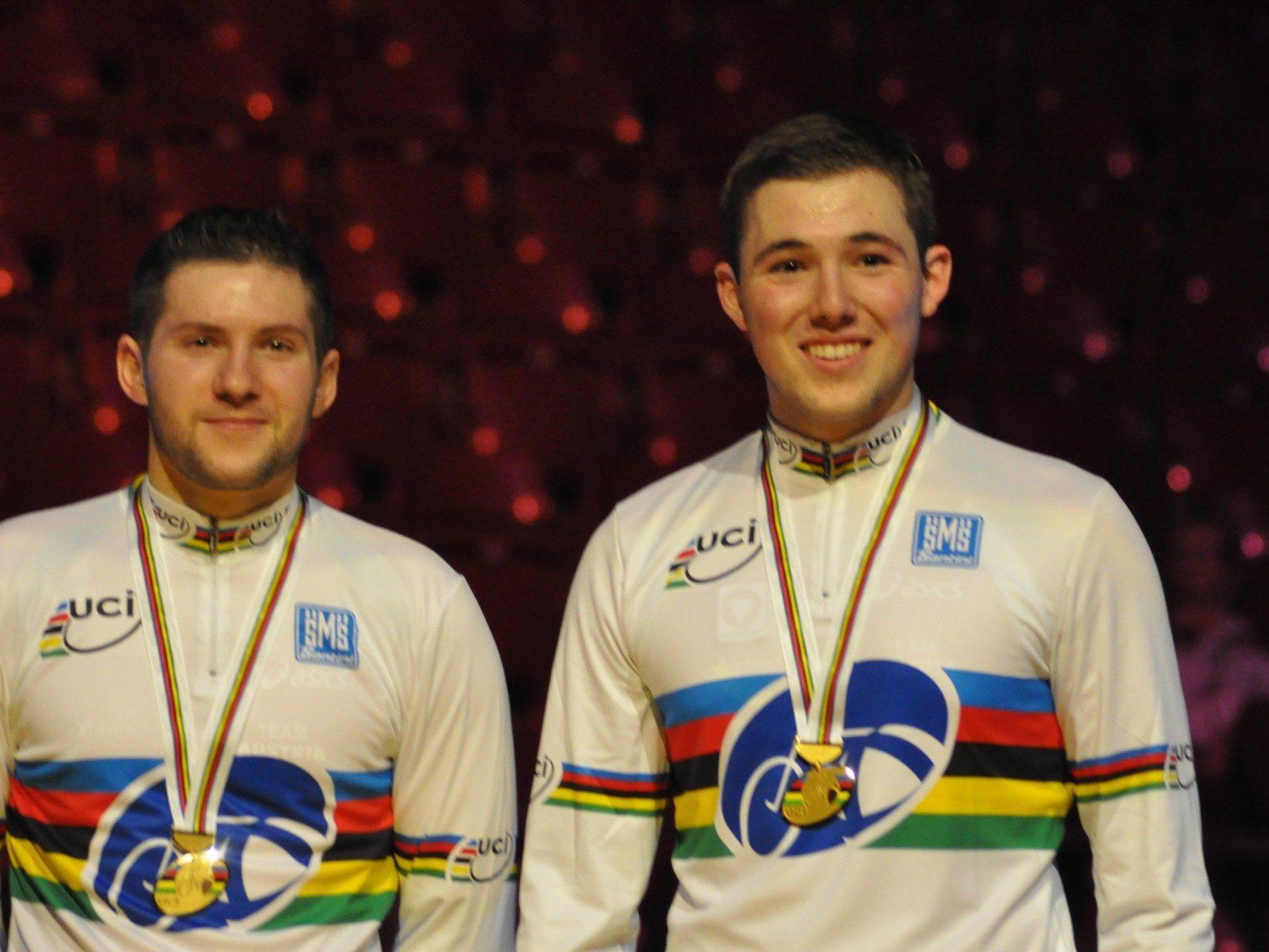 Die Radball Weltmeister Markus Bröll und Patrick Schnetzer (re)