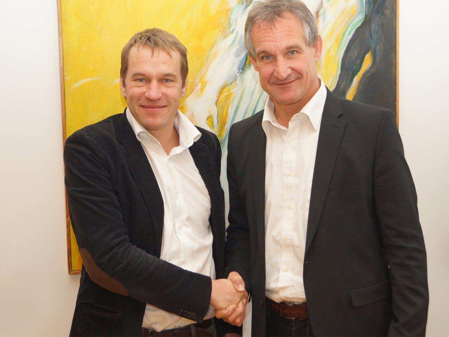 Bürgermeister Linhart und der designierte Stadtamtsdirektor Klaus Feuerstein.