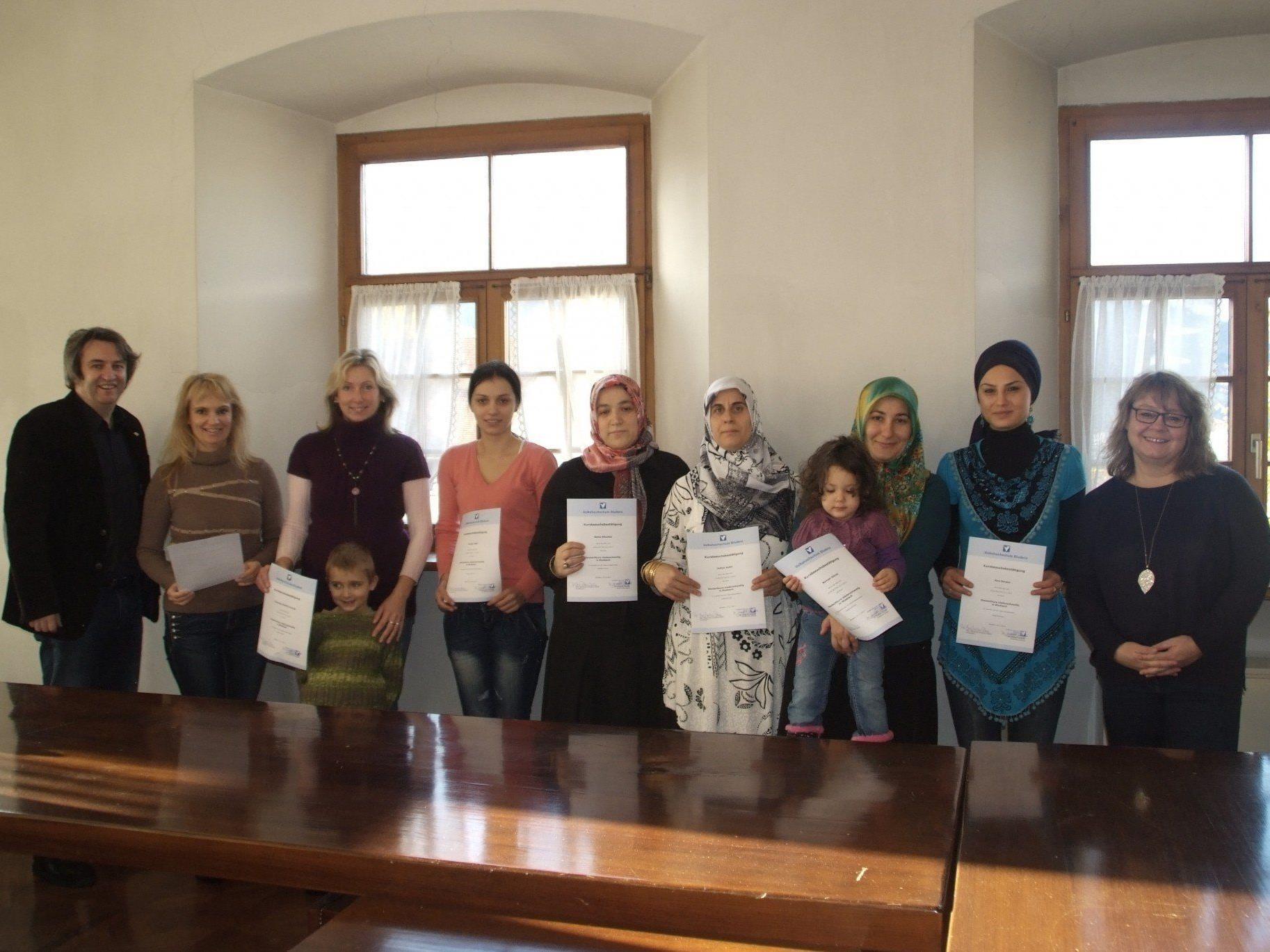 Die Teilnehmerinnen des Deutschkurses für Migranten freuen sich über ihre Fortschritte und auf einen weiteren Kurs.