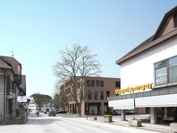 In der Ringstraße weichen zwei Häuser einem neuen Geschäfts- und Wohngebäude.