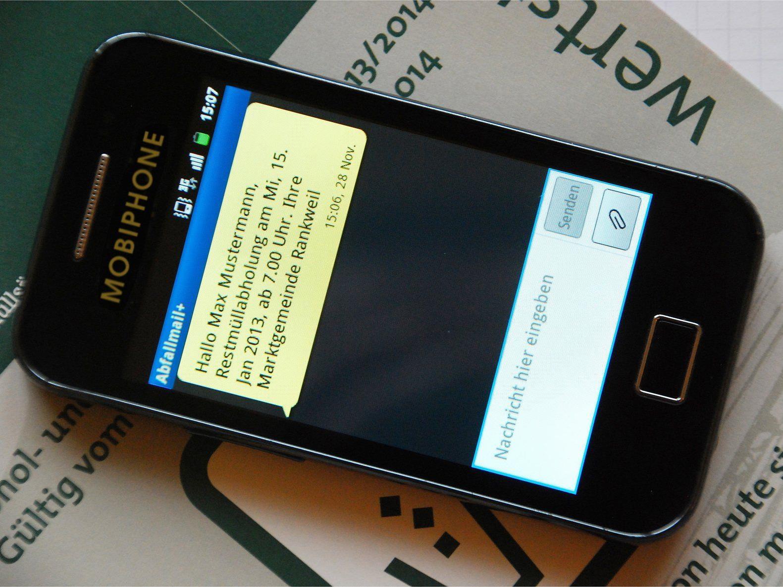 Abfall-Erinnerung per SMS oder E-Mail: Ab sofort für alle Haushalte in Rankweil verfügbar.