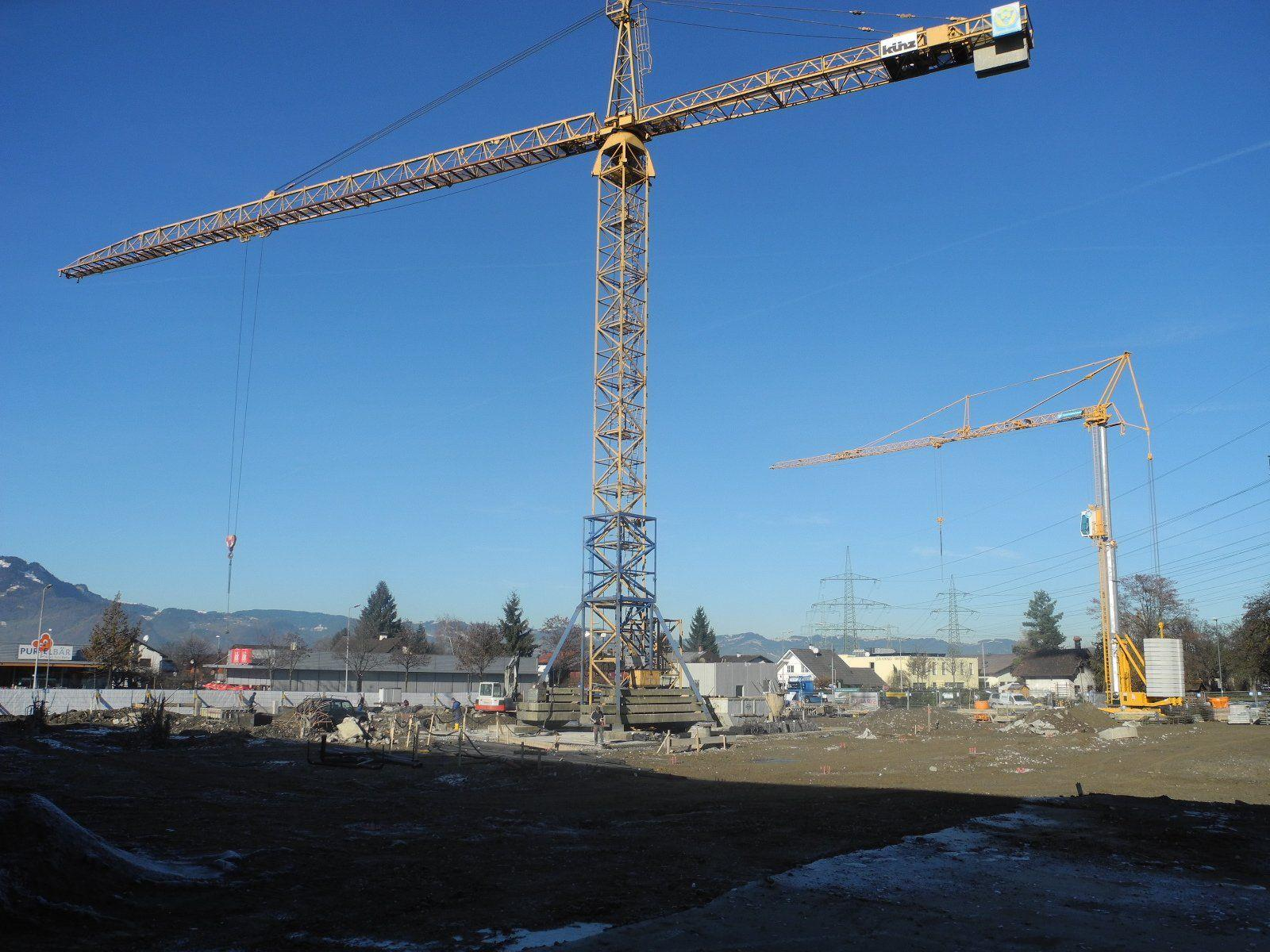 Die Baustelle für das neue Gewerbebauprojekt Passage 22 in Rankweil/Brederis