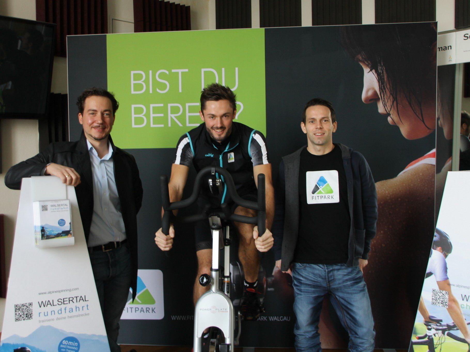 David Böckle, Thomas Mayer und Mike Zech machen virtuelles Radtraining im Walgau möglich.
