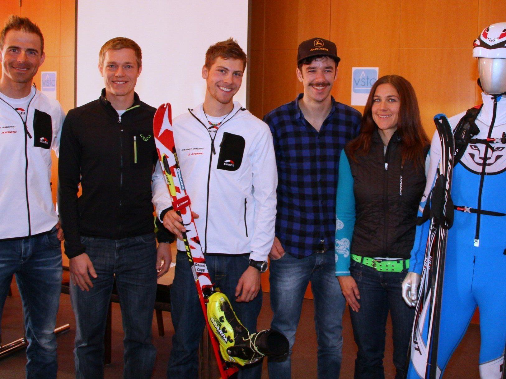 Die fünf Topathleten im Skibergsteigen: Michaela Feurle, Daniel Zugg, Johannes Graf, Patrick Innerhofer, Martin Hämmerle.