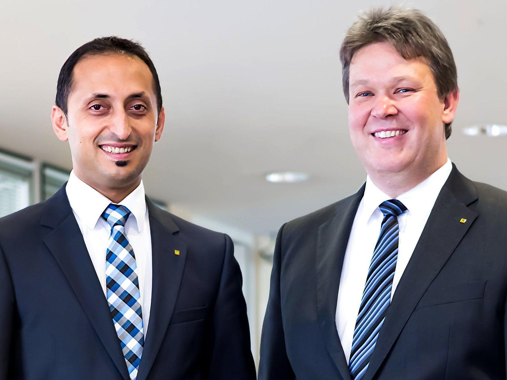 Neues Vorstandsteam der Raiffeisenbank Vorderland: Aydin Aktas und Günther Hirschfeld