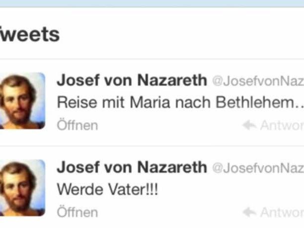 Josef von Nazareth verkündet da freudige Ereignis via Twitter.