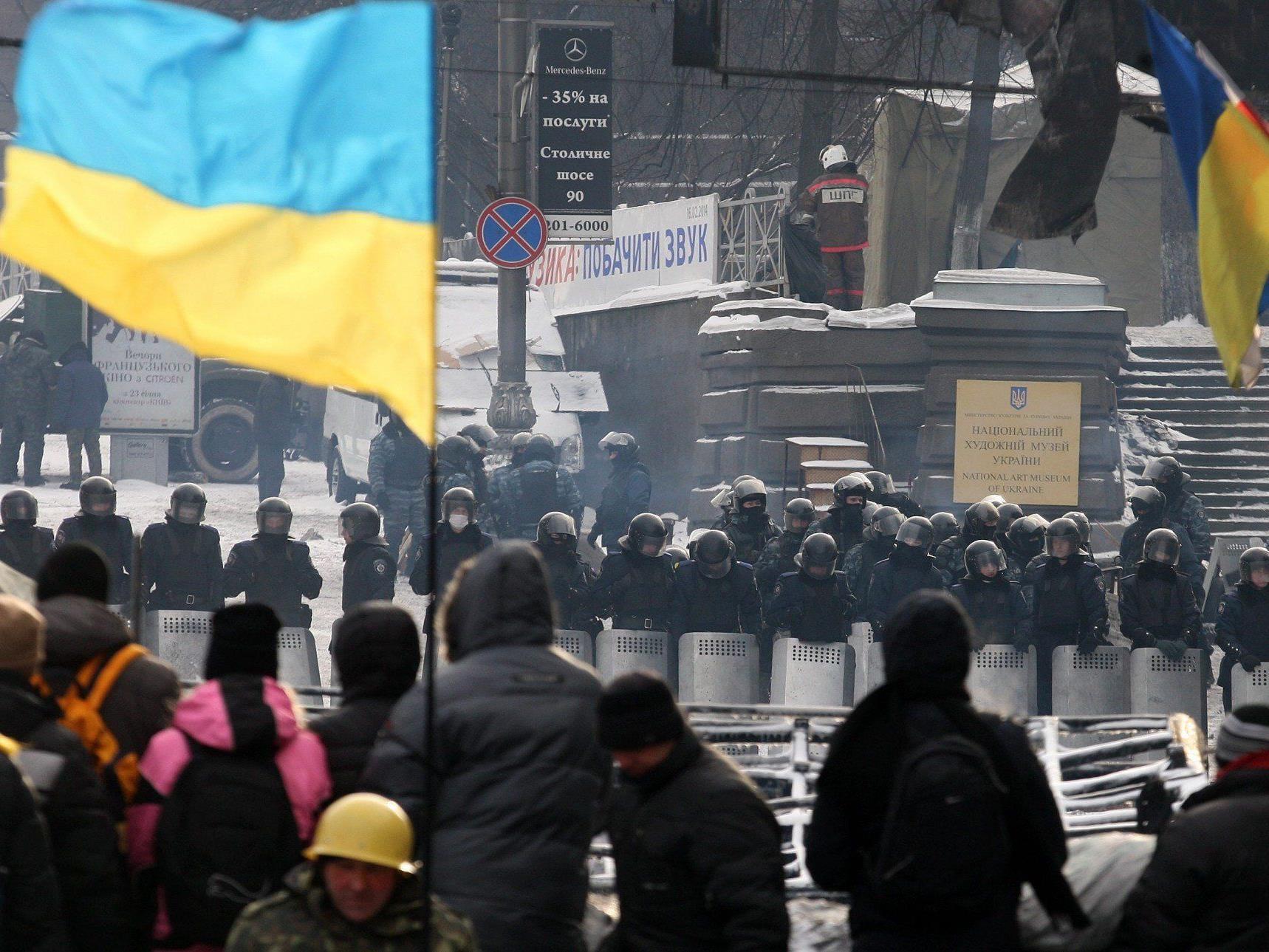 Proteste in Ukraine auch nach Regierungsrücktritt.