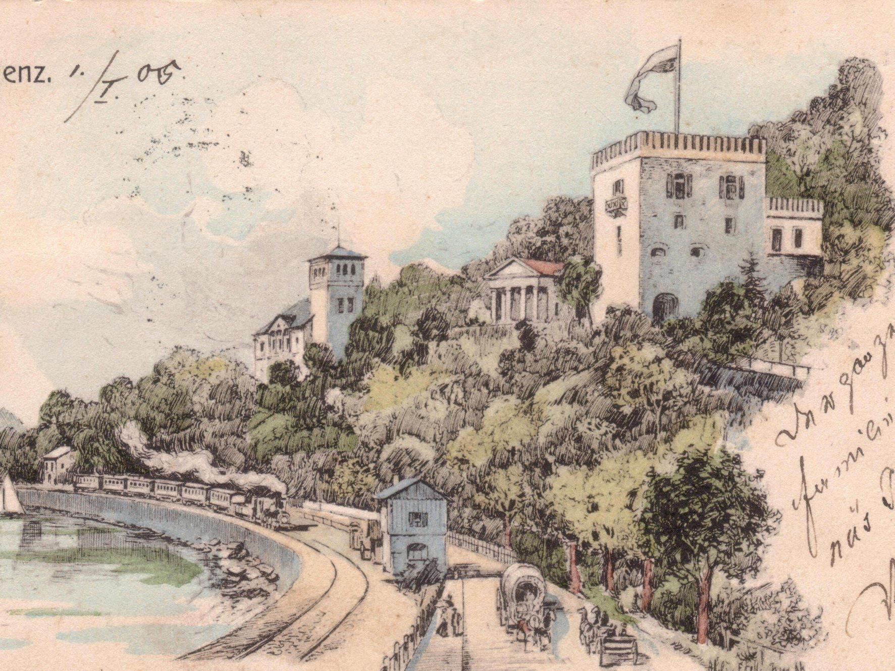 Das Bild aus dem Jahre 1905 zeigt uns die Bahntrasse entlang des Bodenseeufers an der Klause, wie sie im Jahre 1872 angelegt wurde.
