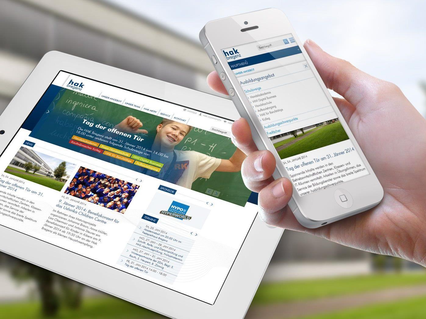 Die neue Website der HAK Bregenz wurde für Smartphones und Tablets optimiert