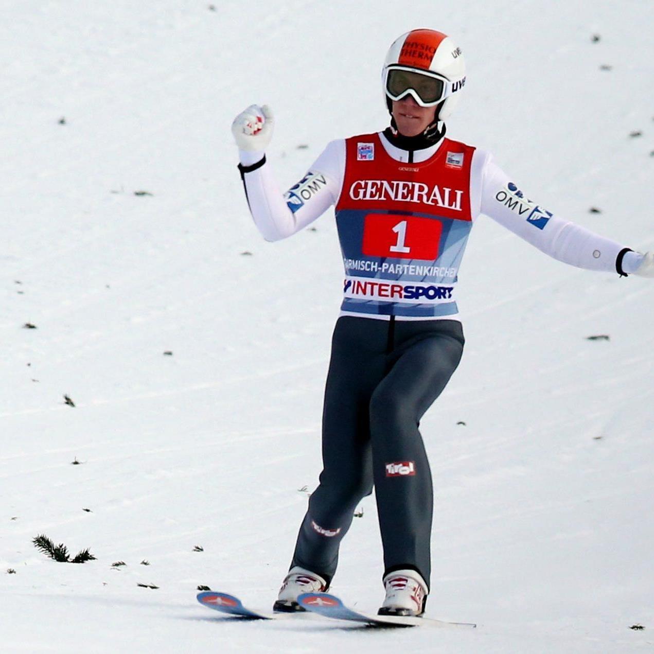 Thomas Diethard gewinnt das Neujahrsspringen in Garmisch-Partenkirchen.