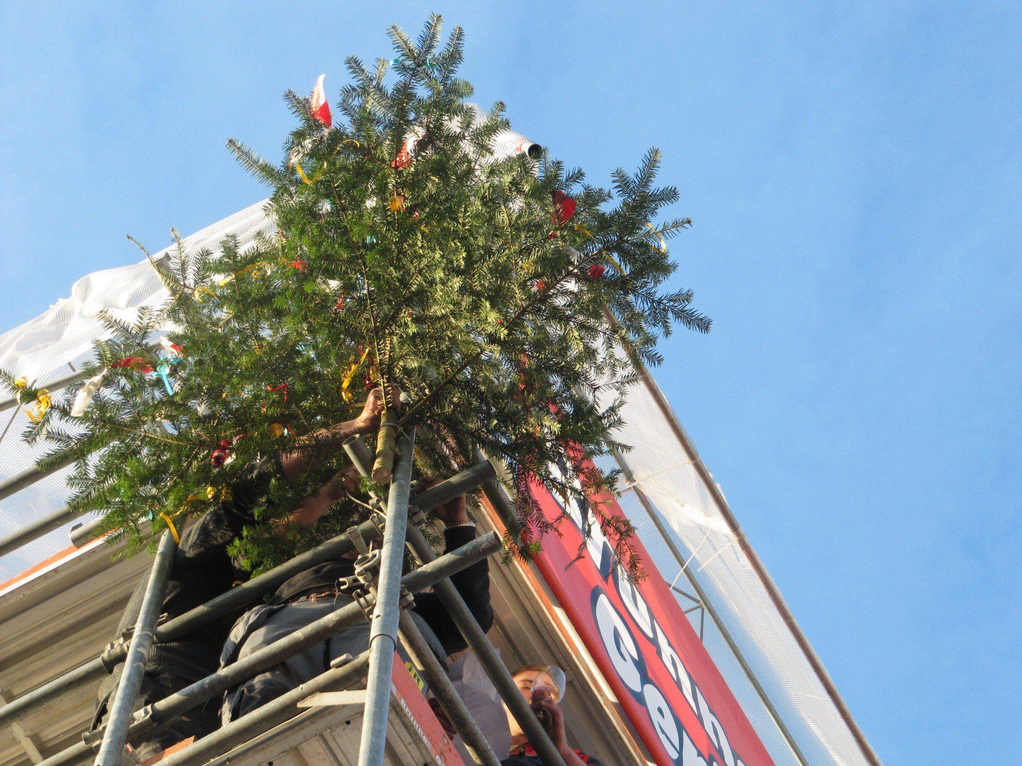 """Nach knapp einem Jahr Bauzeit wurde beim Projekt """"In der Wirke"""" nach alter Tradition der Richtbaum von den Handwerkern hochgezogen."""