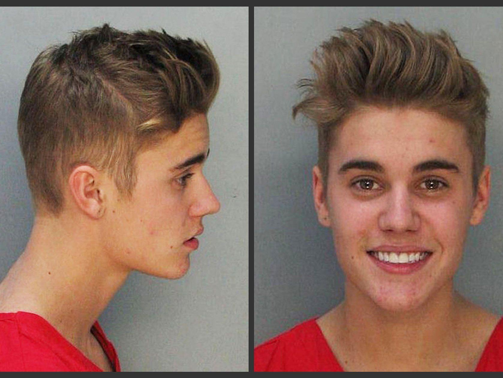 Justin Bieber nach seiner Festnahme im Jänner.
