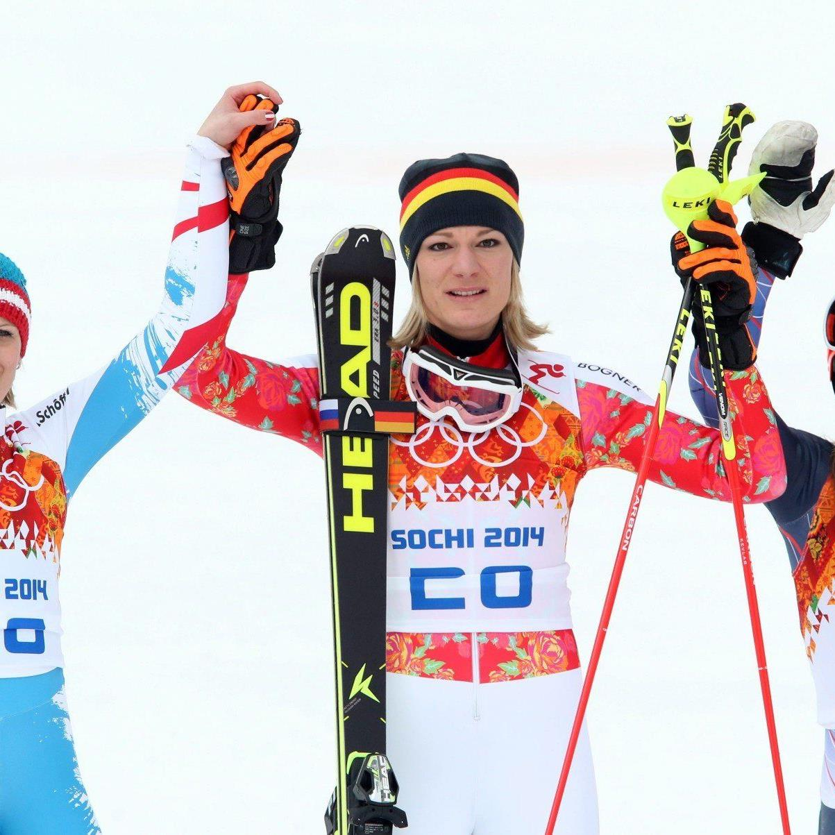 Hinter Titelverteidigerin Höfl-Riesch - Bronze an US-Fahrerin Mancuso.