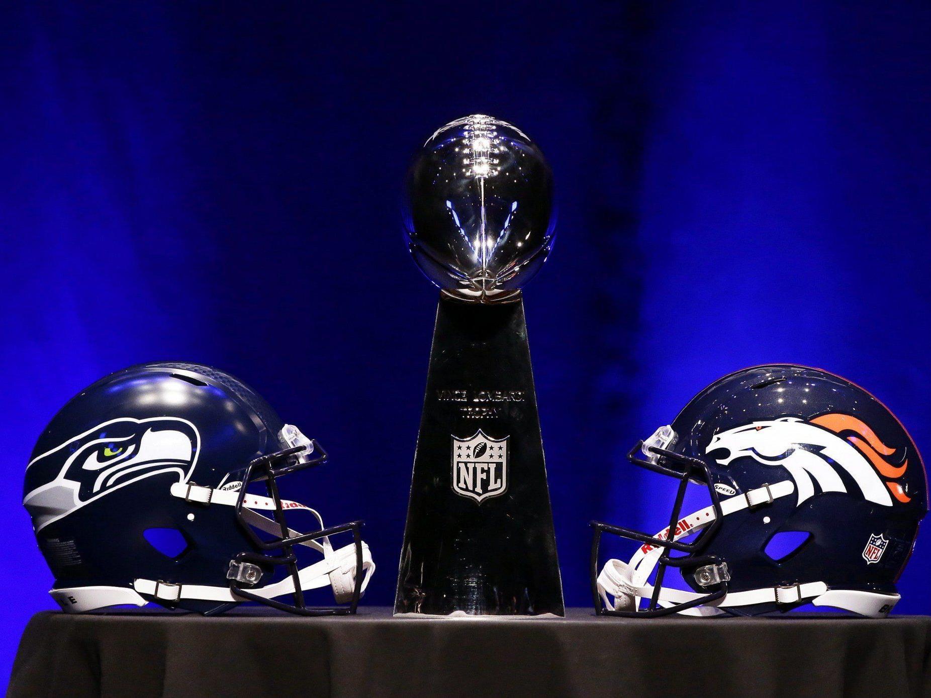 Seattle Seahawks gegen Denver Broncos um die Vince Lombardi Trophy im Super Bowl XLVIII.
