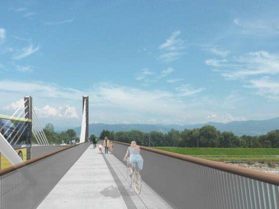 So sieht in der Planung der Fuß- und Radweg aus, der über die neue Brücke von Fußach nach Hard führen soll.